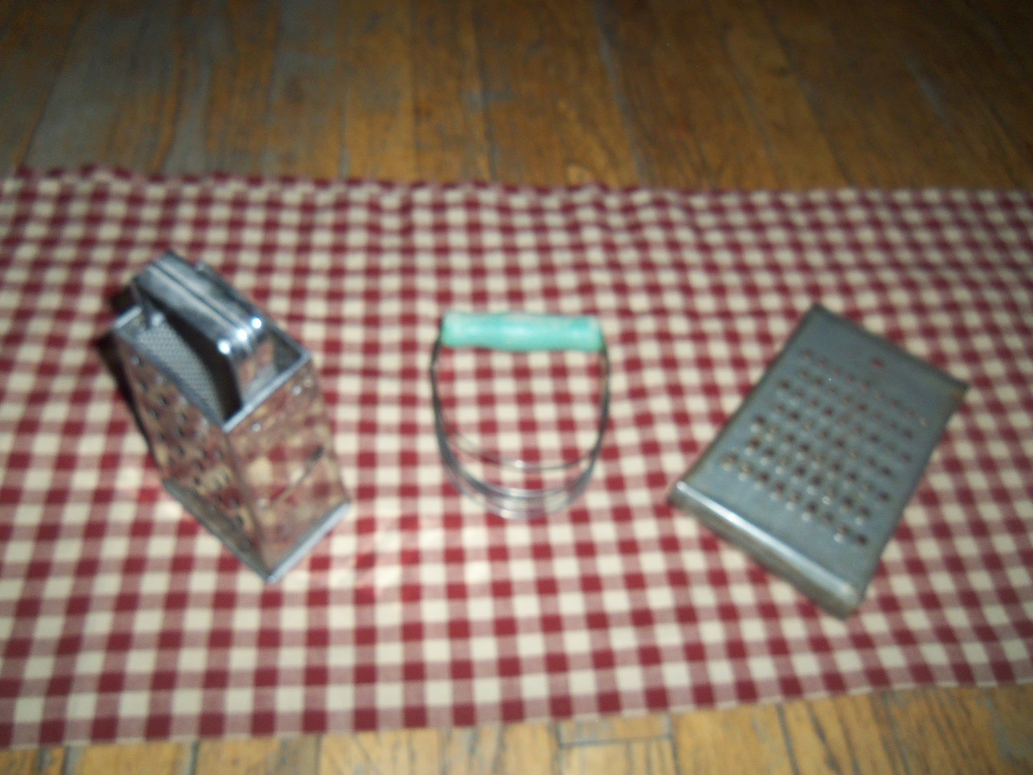 Three kitchen package Vintage Bromwell Box Cheese Grater ,Shredder Slicer w Handle and One Green handle Pastier blender and Wonder Shredder by Geervintagefinds on Etsy