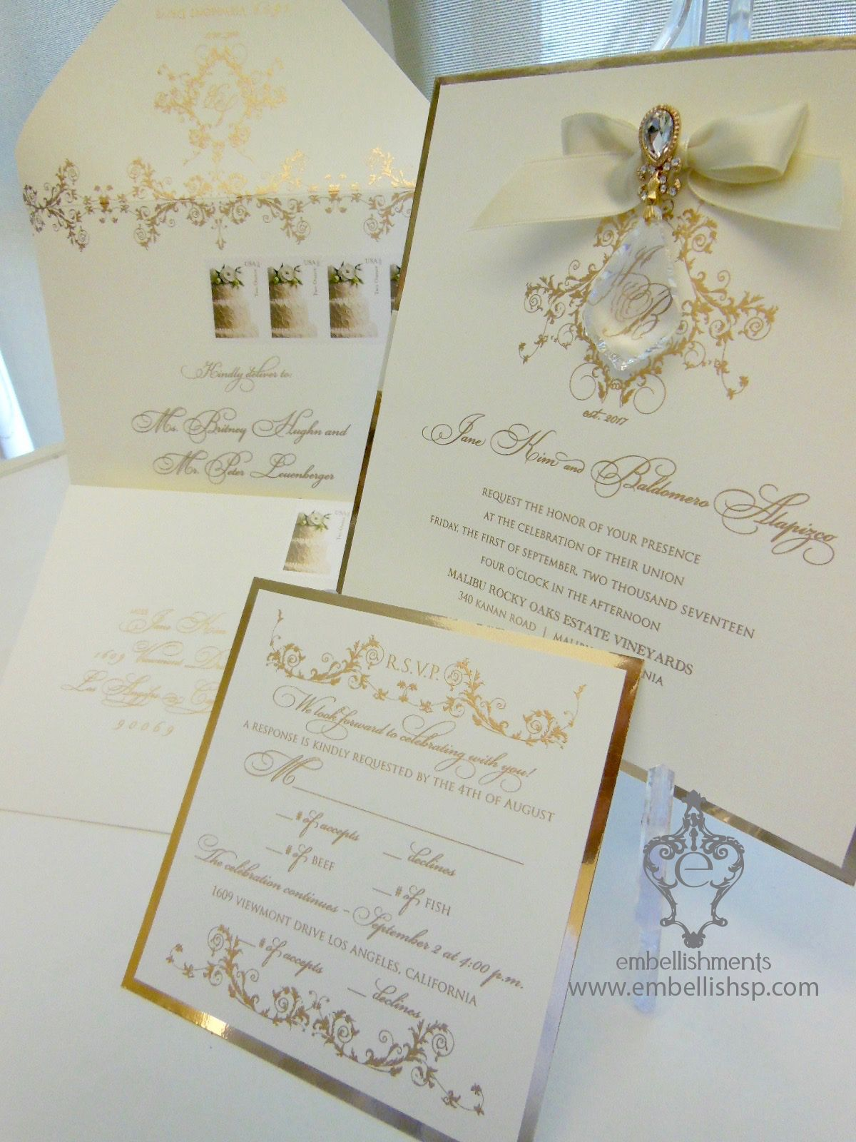 Versailles ivory and gold hanging crystal wedding invitation xo ...