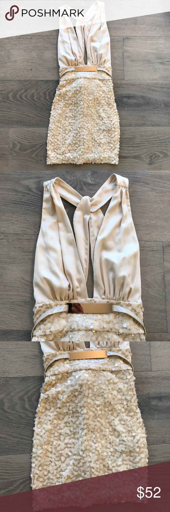 Size small Bebe *Bobbie* dress NWT Perfect cream sequin and silk dress in cream. New with tags. bebe Dresses Mini