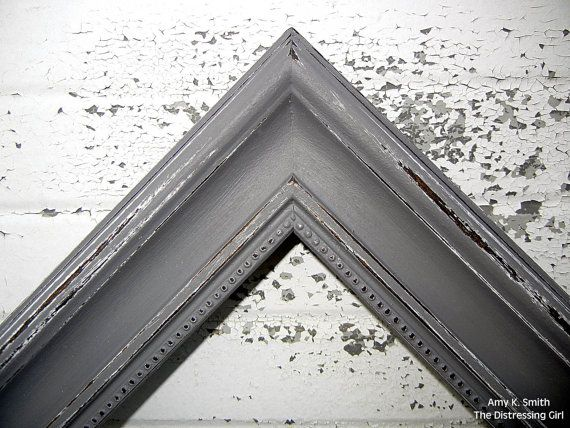 grey 16x20 picture frame chunky rustic 2 thick moulding shabby chic vintage style dark