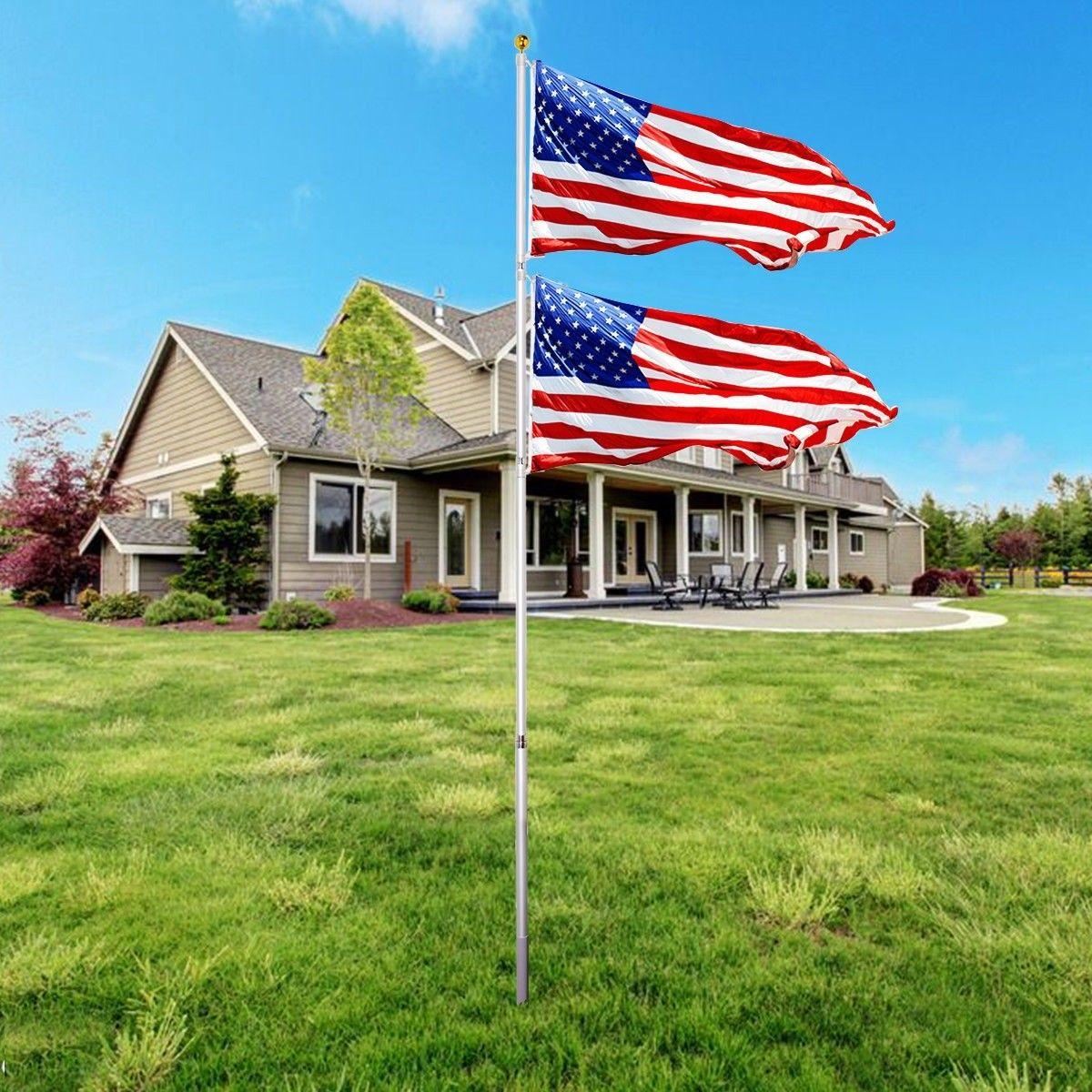 25ft Telescoping Flagpole 2 Us America Flag Kit Telescoping Flagpole Outdoor Flags Flag Pole