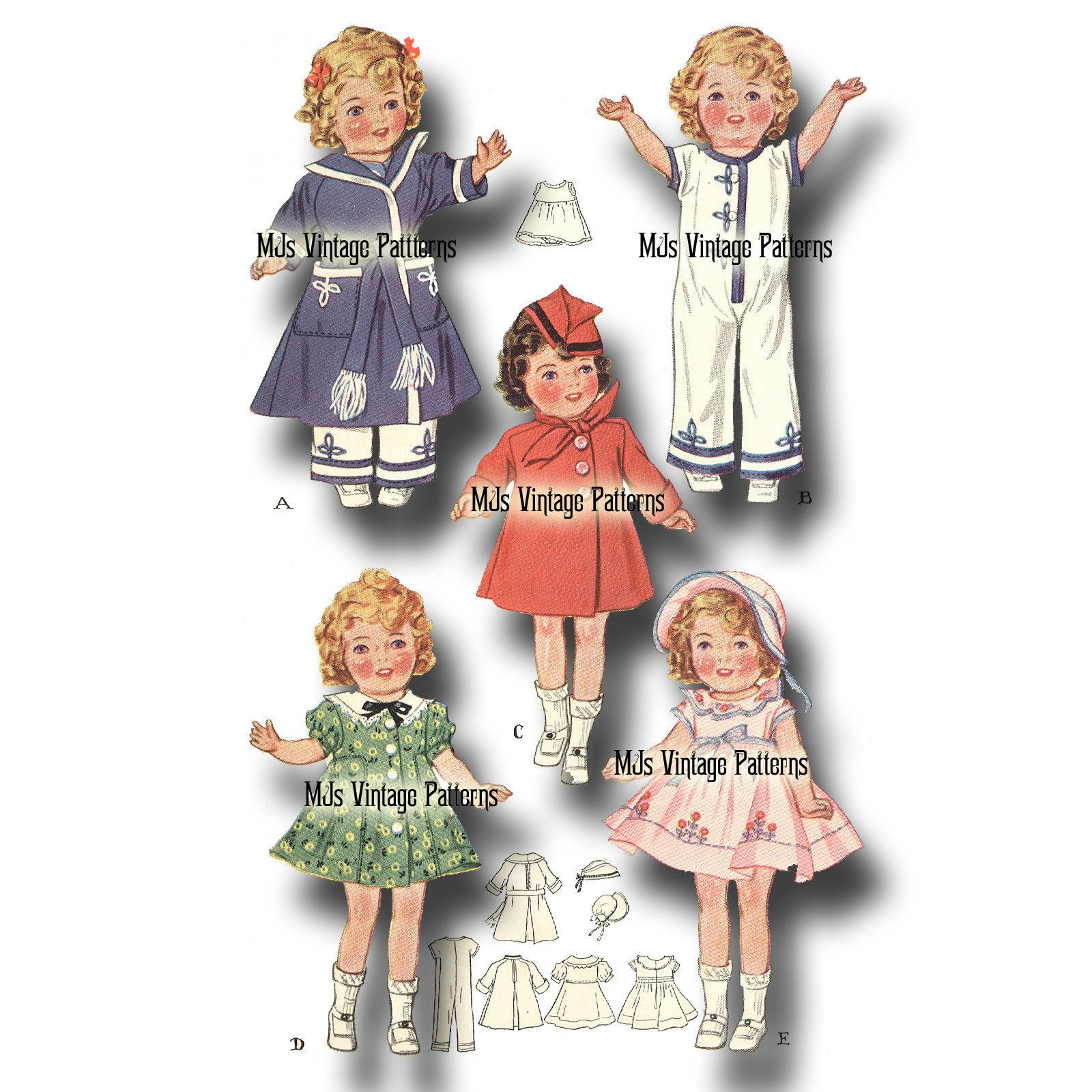"""Vtg 30s Shirley Temple Doll Clothes Dress Pattern ~ 16/"""" Patsy Joan Composition"""