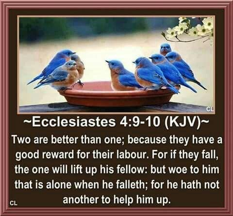Ecclesiastes 4:9-10 Kjv.
