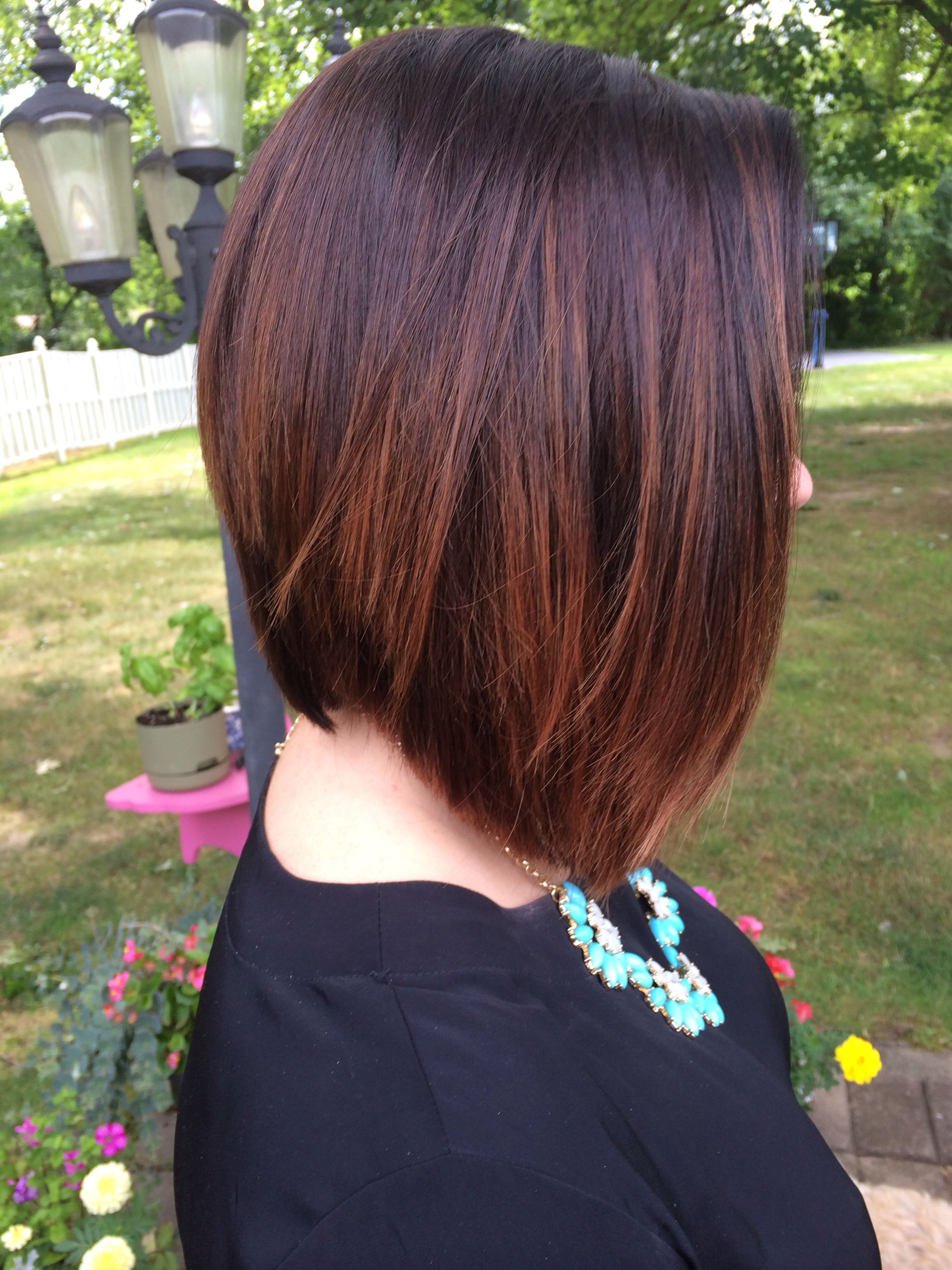 A-line bob with a rich dark brown and auburn ombré | hair ...