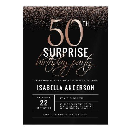 Rose Gold And Black Surprise 50th Birthday Party Magnetic Invitation Zazzle Com Surprise Birthday Party Invitations Surprise 50th Birthday Party Birthday Surprise Party