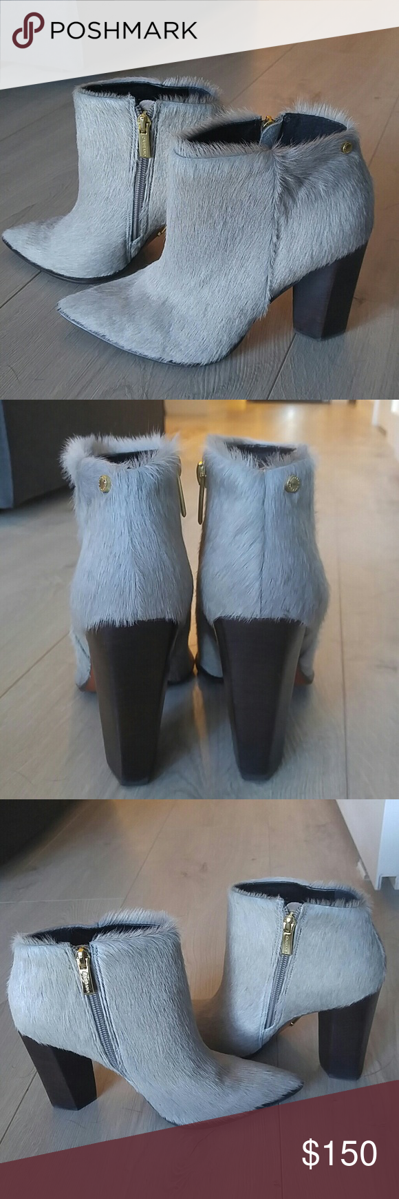 Pony hair boots Beautiful Carrano gray pony fur boots with espresso heel. In great condition just don't wear them enough. Piperlime Shoes Ankle Boots & Booties