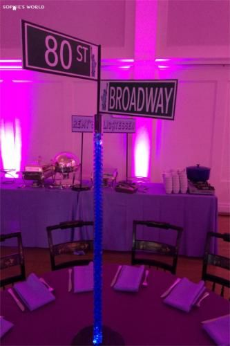 Ny party diy street signs centerpieces sophie for Broadway bedroom ideas