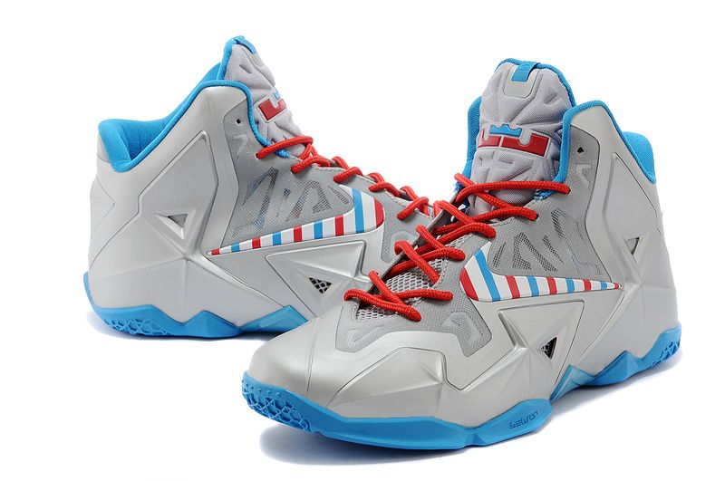 uk availability 5f1a7 9bc88 Nike LeBron 11 Barber Metallic Silver White-