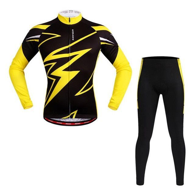 Wosawe Pro Long Sleeve Cycling Jersey Sets Breathable 3d Padded