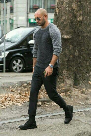 Milan Vukmirovic Colorblock Raglan Sweater Cropped Pants Combat Boots Mens Outfits Bald Men Style Casual Wear For Men