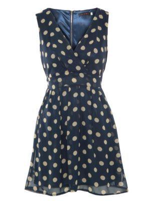 Tenki Blue Polka Dot V Neck Dress