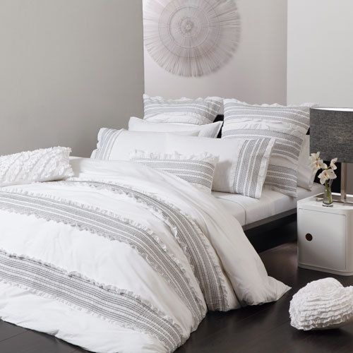 Logan And Mason Mia White King Size Bed Quilt Doona Cover 3pc Set Platinum New White Quilt Cover White King Size Bed Contemporary Bedroom Design