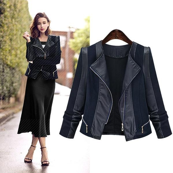 PU Patchwork Lapel Double Zippers Long Sleeves Slim Short Coat - Meet Yours Fashion - 2