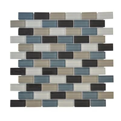 Shoreline Brick 12 in. x 12 in. Blue Glass Mosaic Tile
