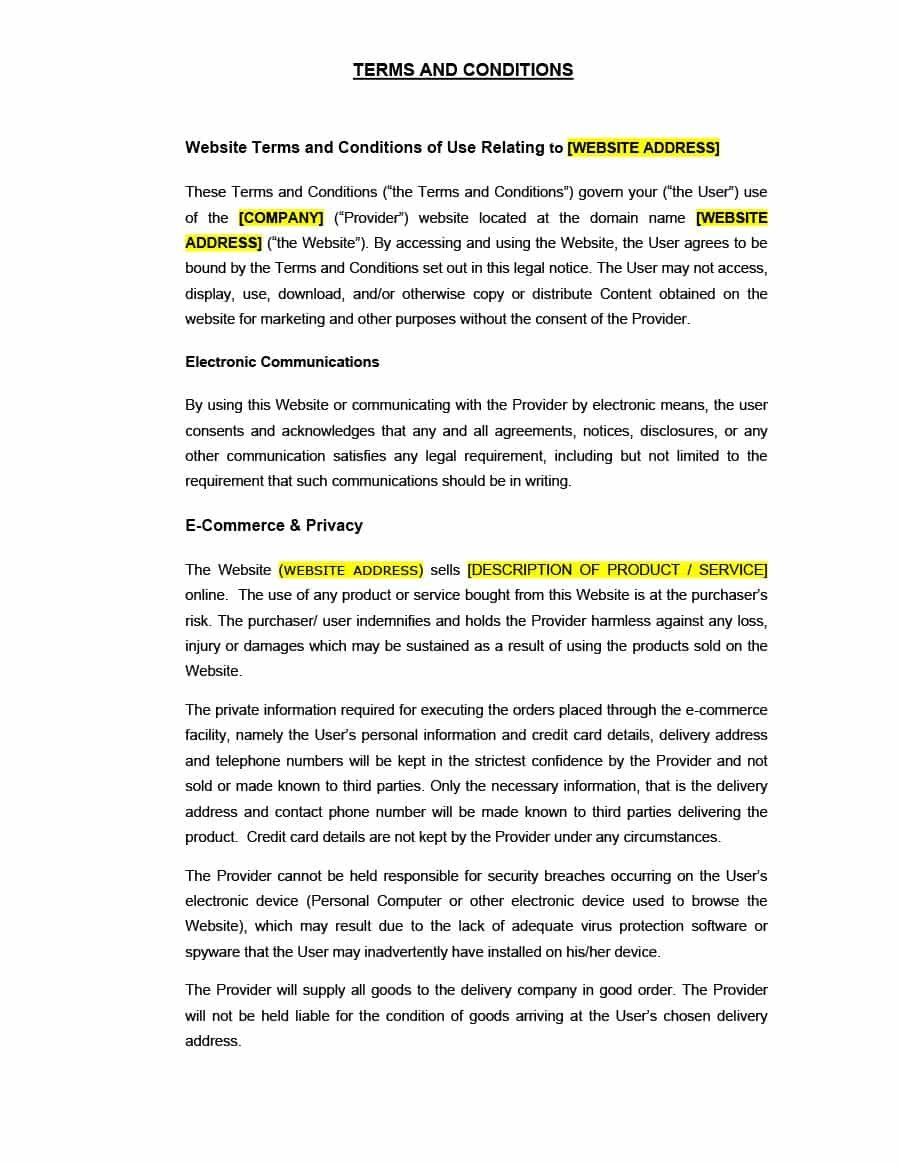 Terms And Conditions Of Business Free Templates | Website ...