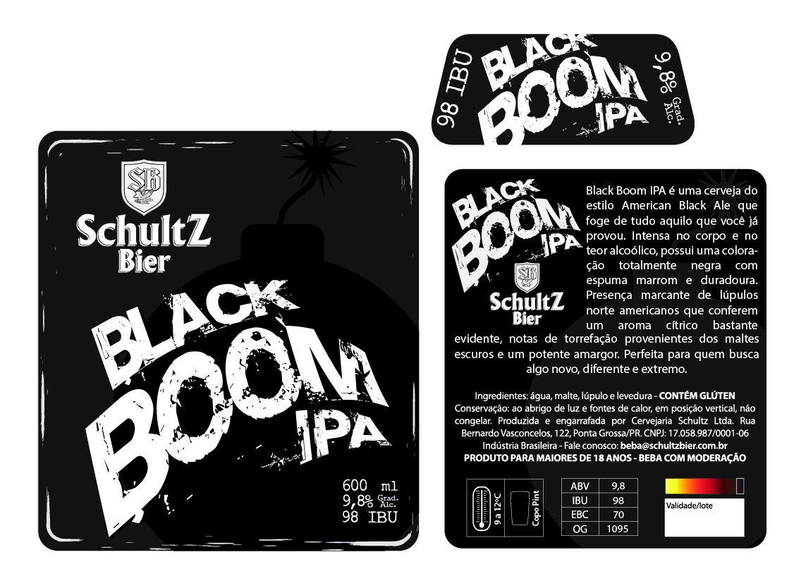 Rótulos Schultz Bier Black Boom IPA Cerveja ale