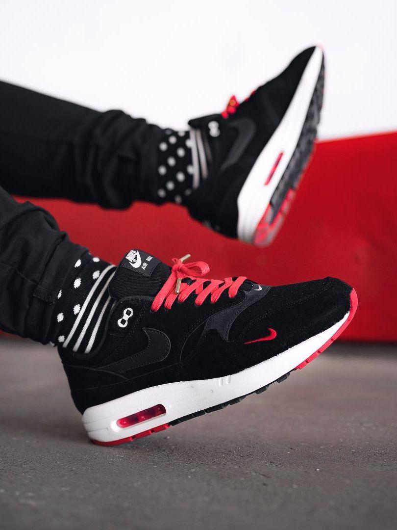 air max 1 mini swoosh black red