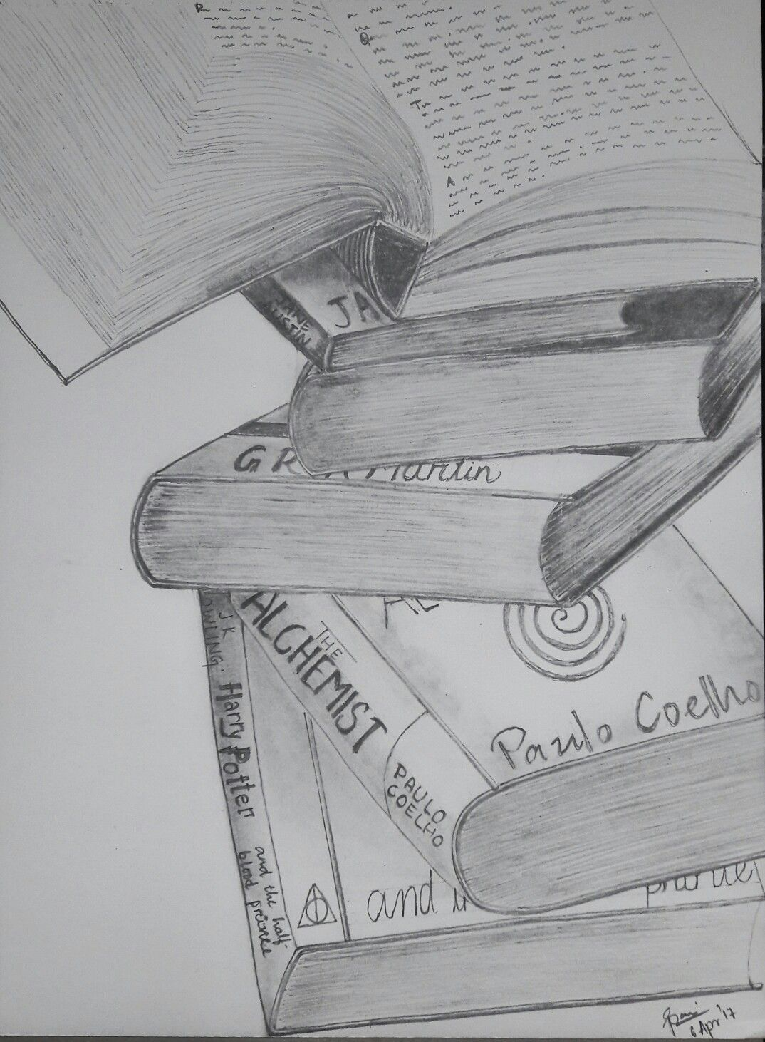Stack of books | Stack of books, Sketches, Creative