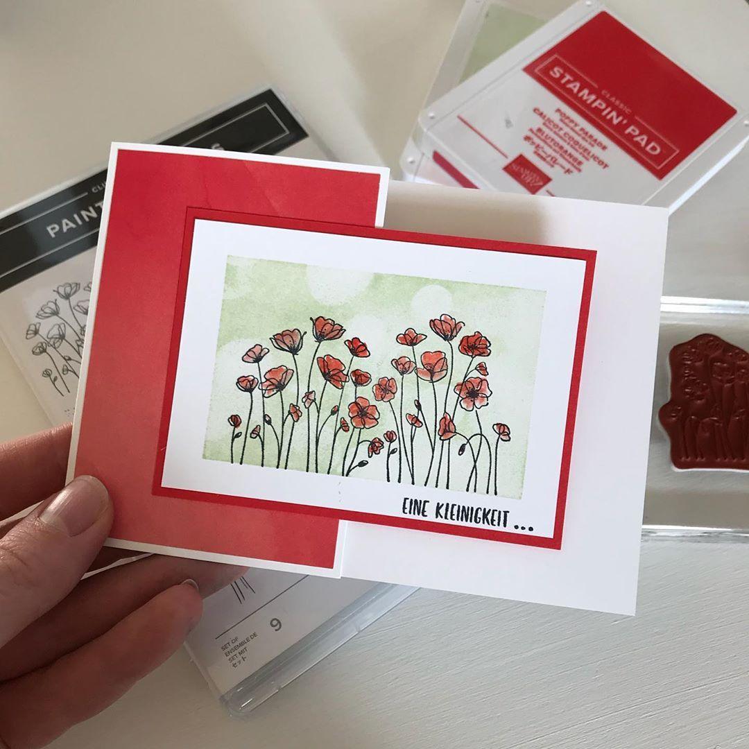 Christine Wrede Auf Instagram Werbung Eine Schnelle Und Einfache Karte Mit Mohnblumen Bestempelt Du Auch Gerne Die In 2020 Papierkarten Karten Karten Handgemacht