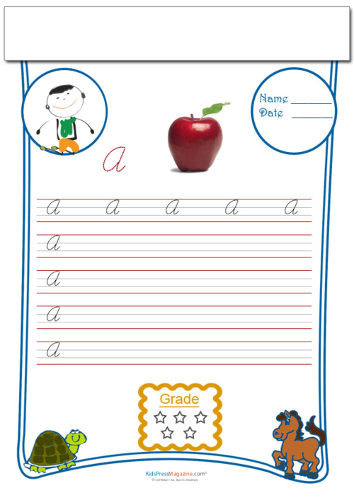 Cursive Writing Worksheet Letter A Cursive Writing Worksheets