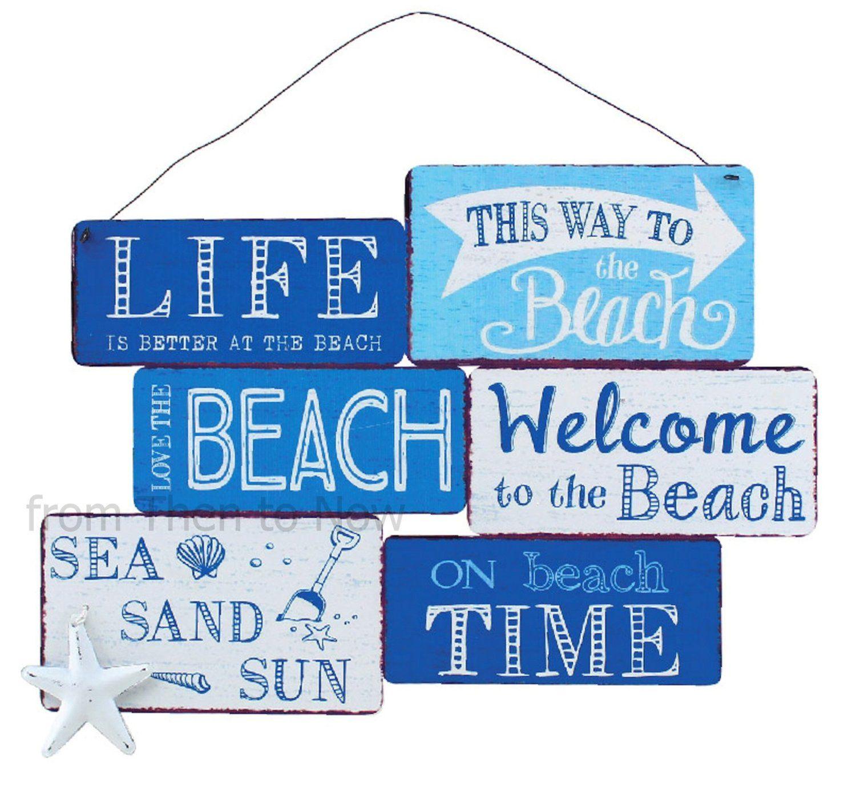 Large Blue & White Nautical Beach Metal Sign: Amazon.co.uk: Kitchen ...