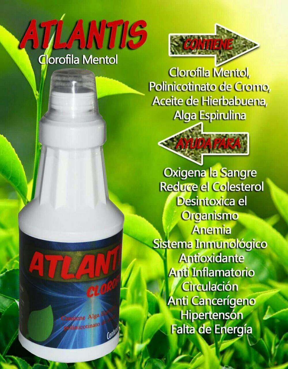 Atlantis Clorofila Mentol Alga Espirulina Polinicotinato De