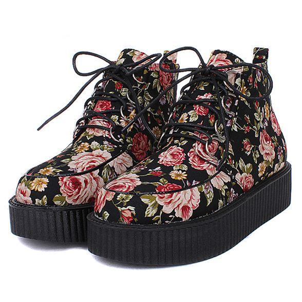 Japanese retro flowers platform shoes