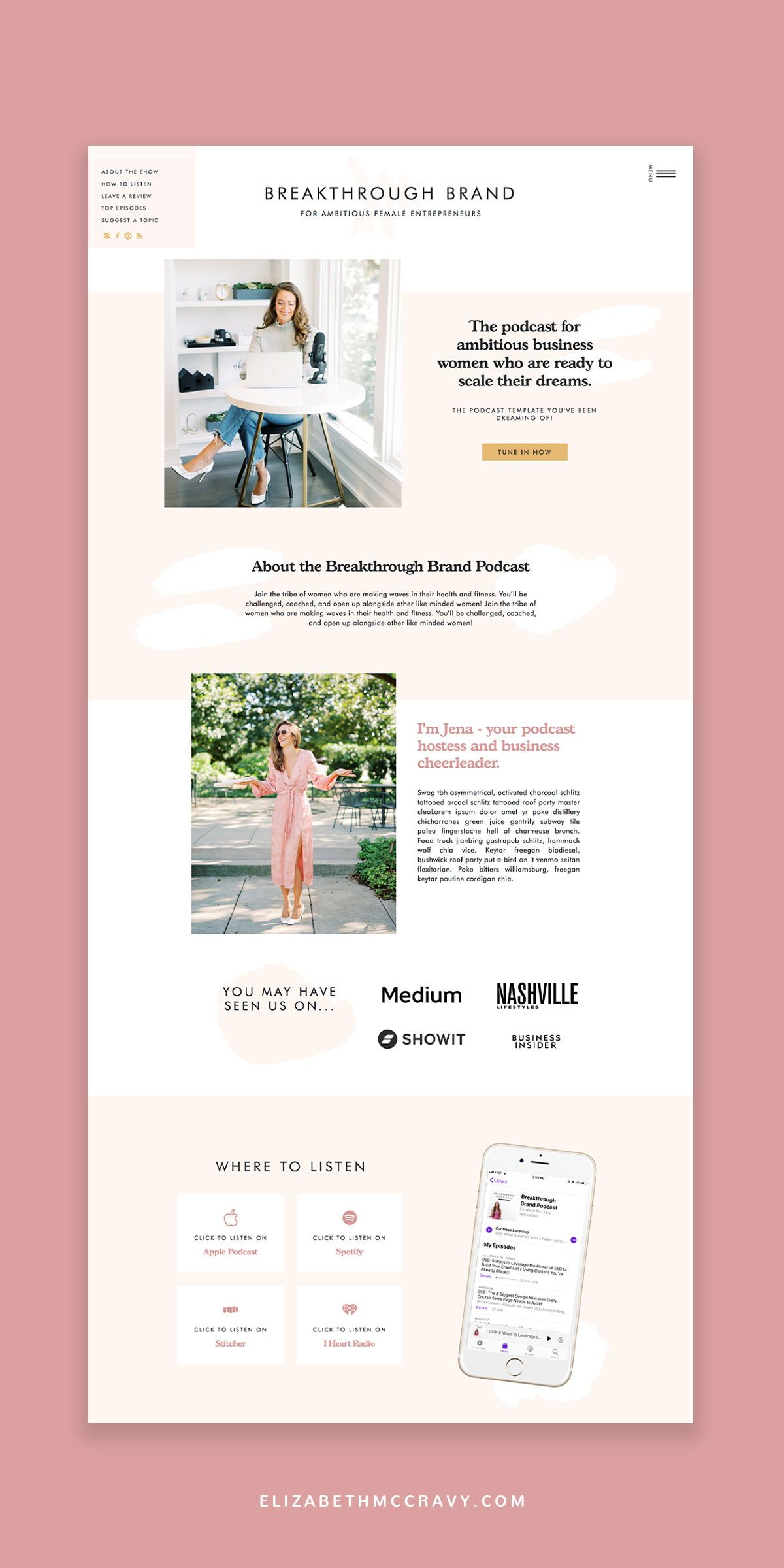 Fun and Flirty Website Templates in 2020 Showit, Website