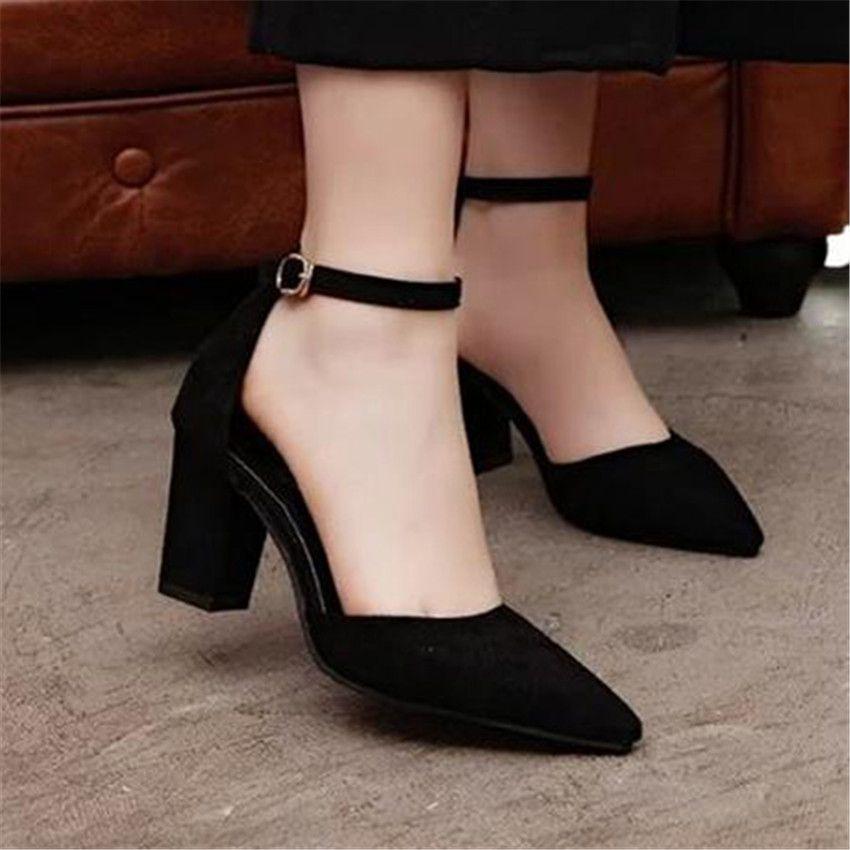 b8ff0d567cc Women s Suede Block Heels Mid Heel Pumps Ankle Straps Sandals Prom Shoes  Party