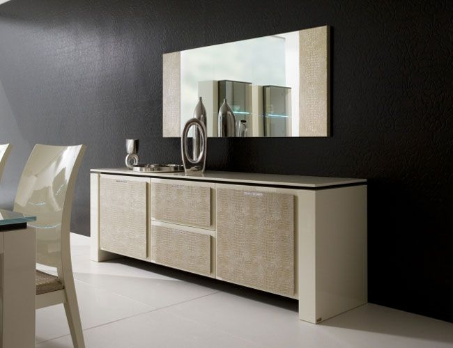 Contemporary Modern Dining Room Buffet With Mirror