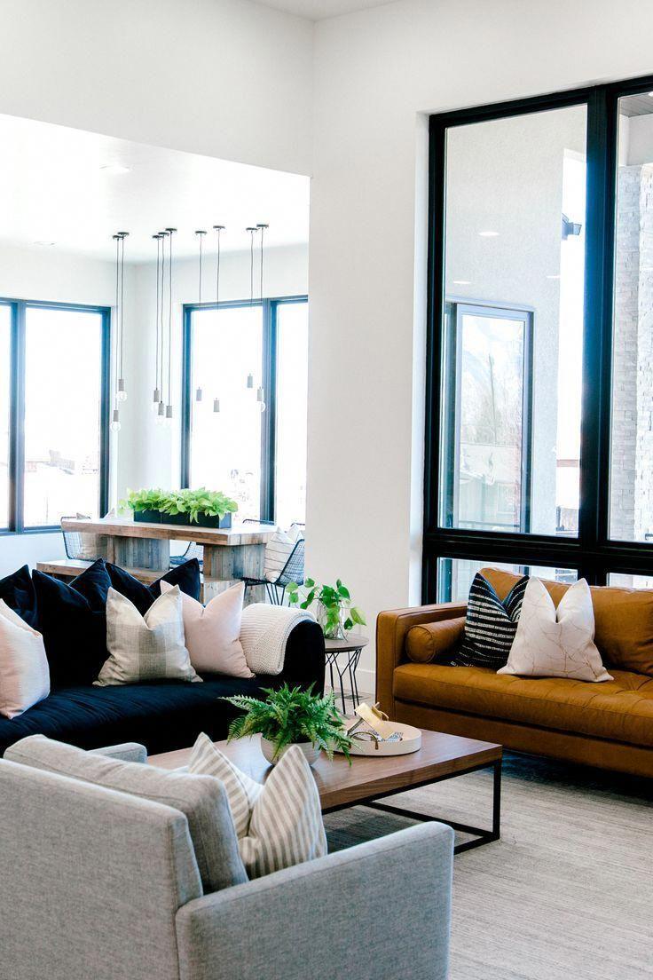 living room, interior design dark blue sofa with white and ...
