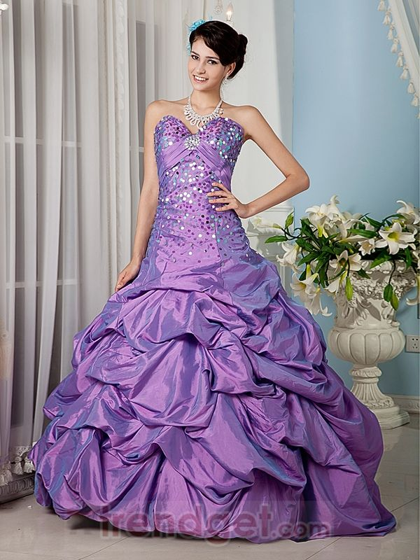 Ball Gown Sweetheart Floor-length Beading Taffeta Purple Prom Dresses