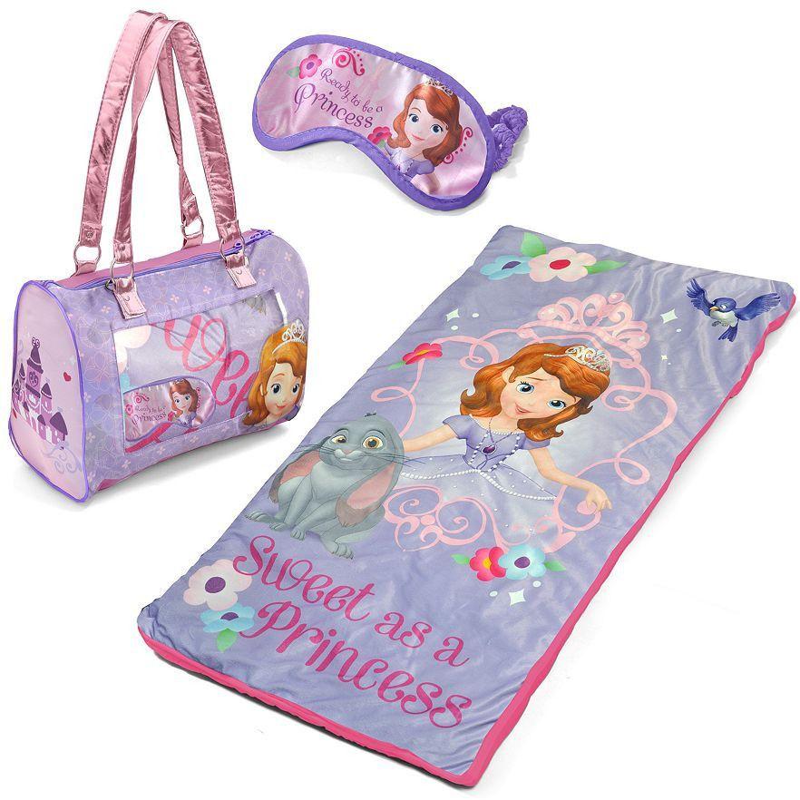 Nwt S Disney Sofia The First 3 Pc Sleepover Set Sleeping Bag Overnight