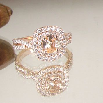 Cushion Peach Champagne Sapphire Infinity Engagement Ring 14k Rose