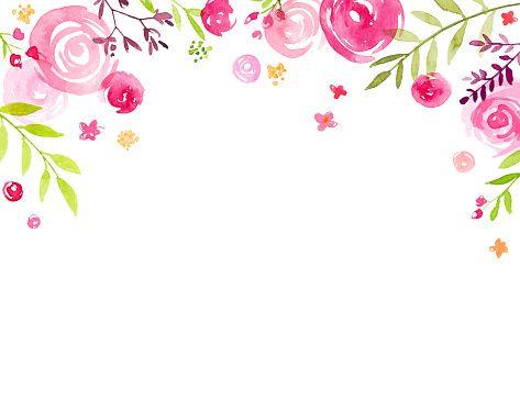 328ad91fe12c Mão em aquarela pintada flores de cobertura de quadro - ilustração ...