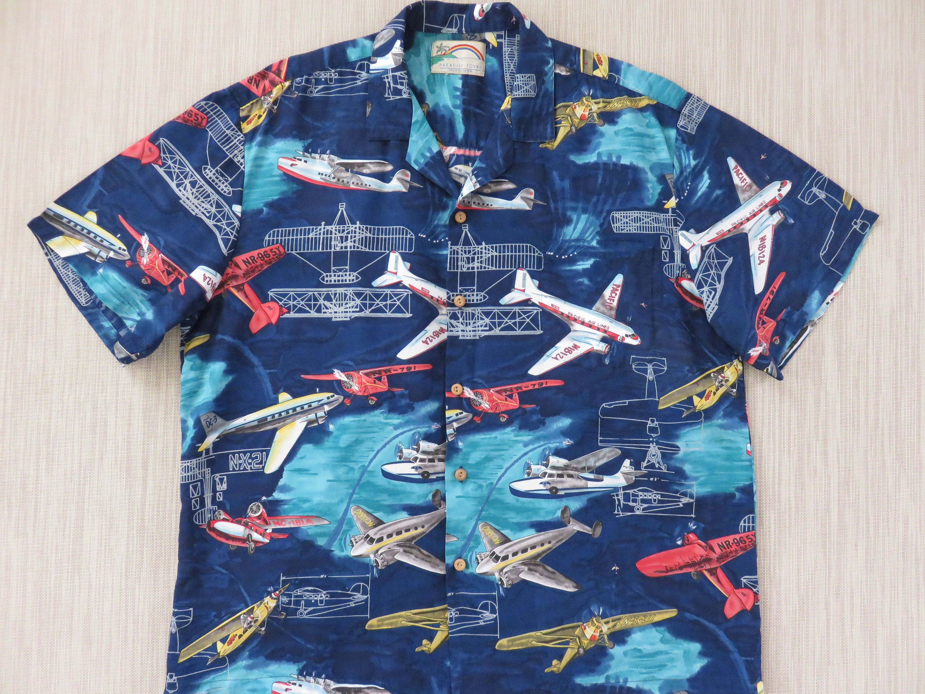 a85a3753 Hawaiian Shirt Men PARADISE FOUND Airplane Tourist Planes Pacific Air Lines  Puddle Jumpers Sea Plane Aloha Shirt -XL- Oahu Lew's Shirt Shack by ...