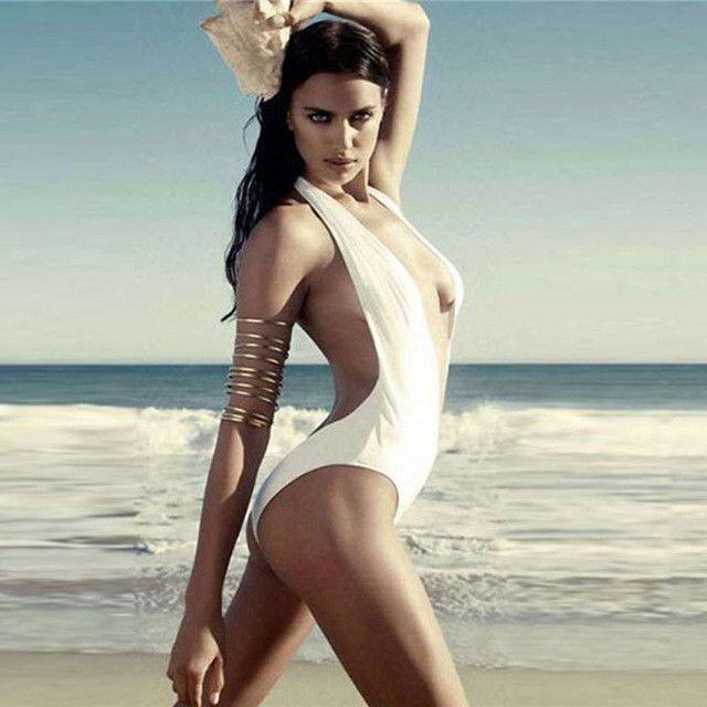 ef86878a5a Sexy Deep V Swimwear Women One Piece Swimsuit Thong Monokini Trikini  Triquini Brazilian Femme Thong Bikini