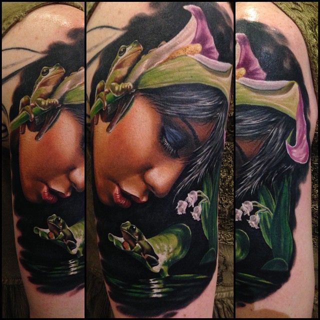 A Photo Realistic Tattoo Piece Of A Girl By Artist Randy Engelhard