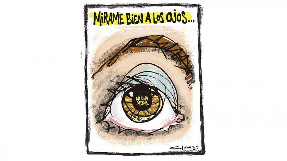 NI UNA MENOS. Mirame bien a los ojos (Ilustración Chumbi).