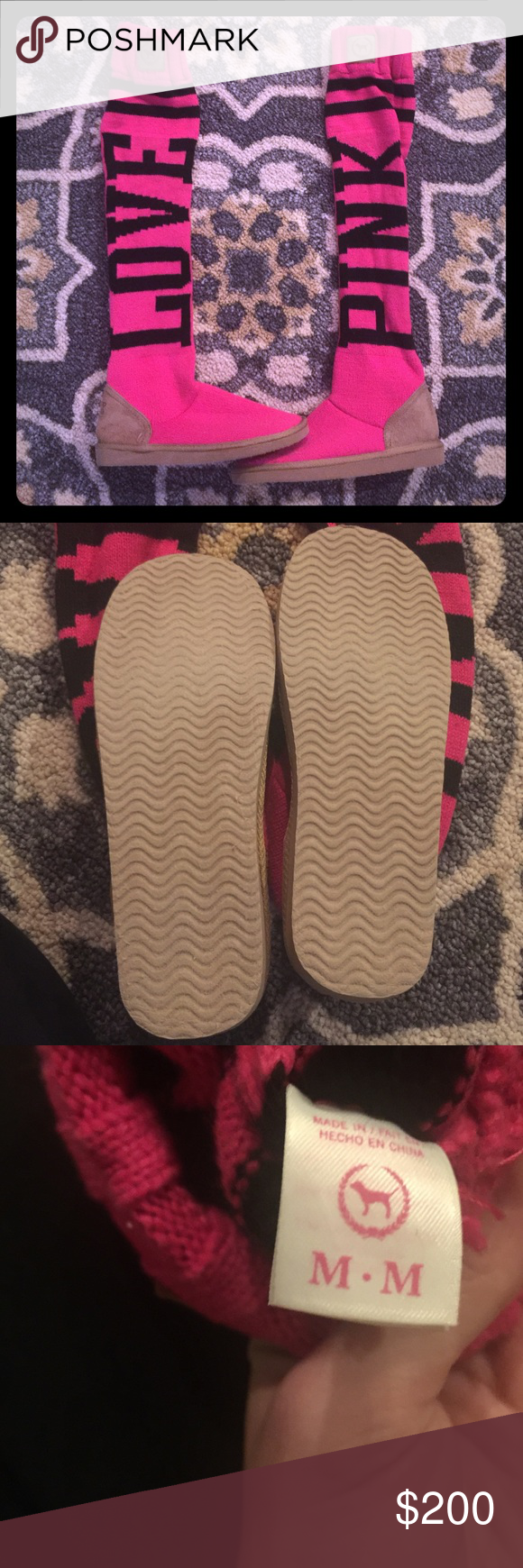 RARE HOT PINK MUKLUKS VS PINK These are in perfect condition 😍 barely shows any wear on the bottoms . These are hard to find so I would want a lot for trade . Size medium 7-8 but I think they could easily fit a 9 PINK Victoria's Secret Shoes