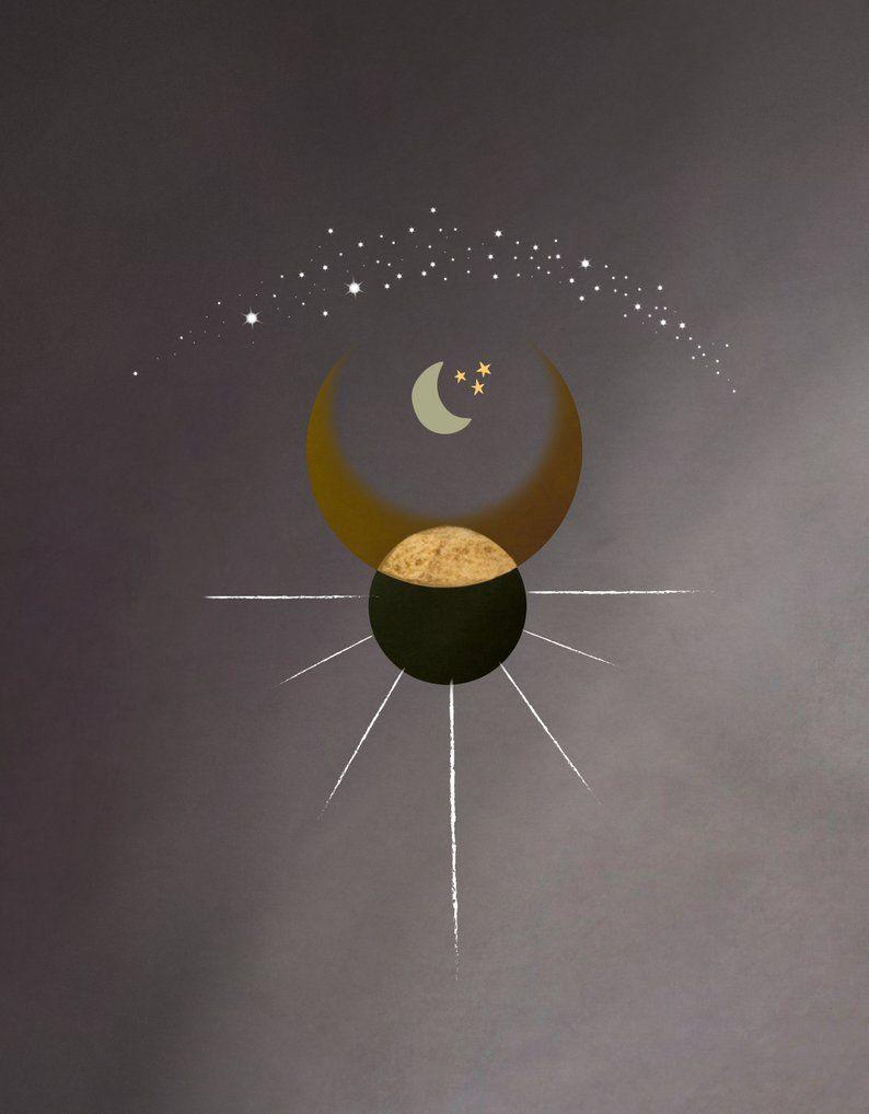 Soleil Celestial Art Print Minimalist Bohemian Gradient Moon Etsy Celestial Art Moon Phases Art Art