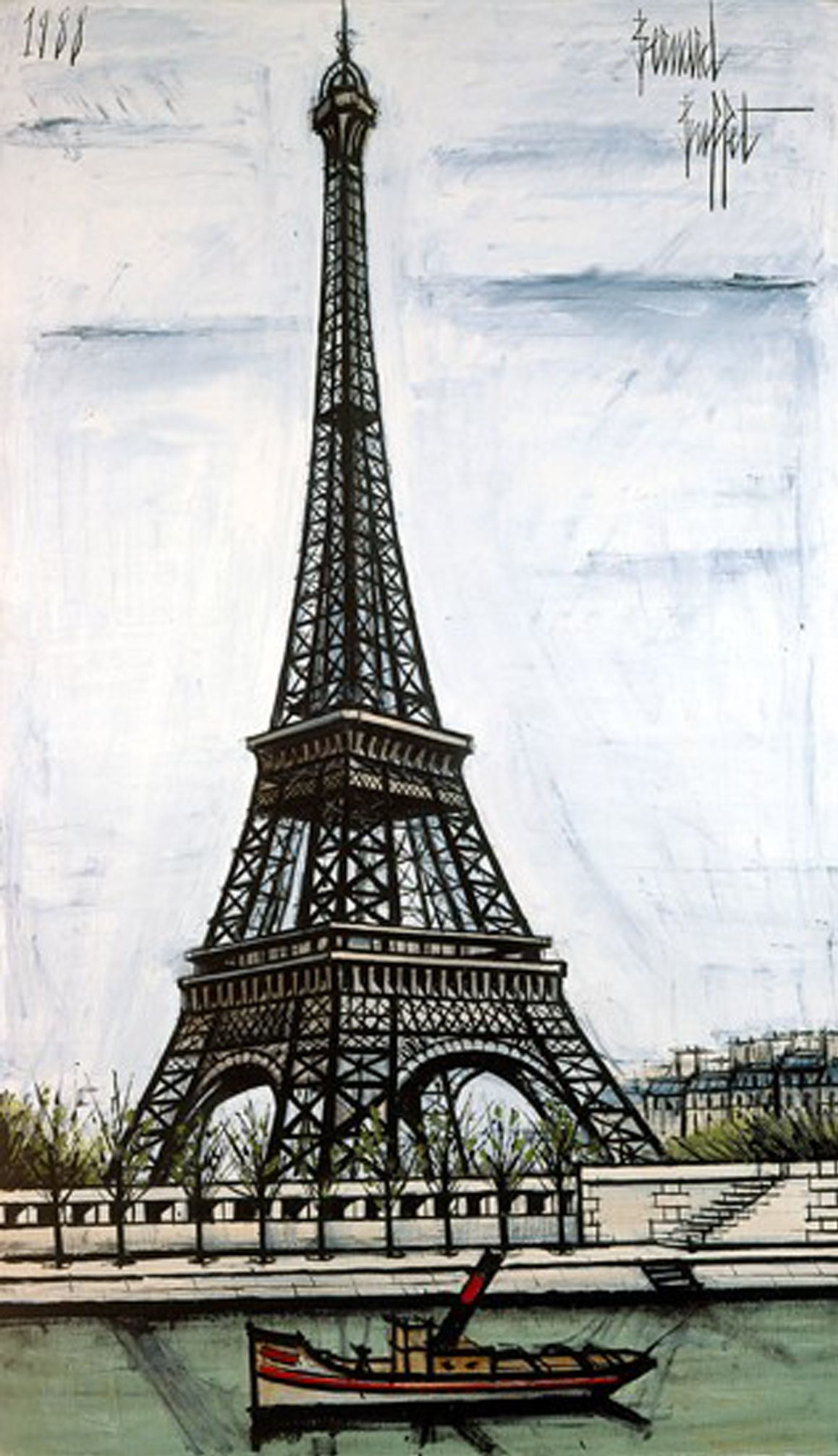 la tour eiffel 1988 par bernard buffet 1928 1999. Black Bedroom Furniture Sets. Home Design Ideas