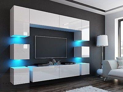 Neuheit Wohnwand Quadro 228 Weiss Hochglanz Led Beleuchtung Mirage