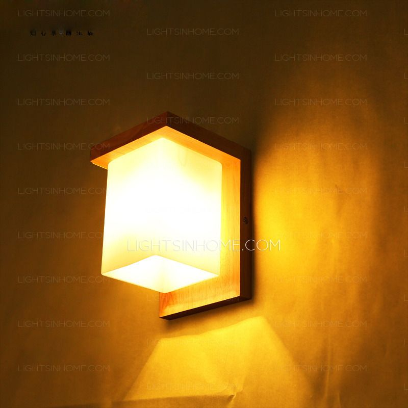Wooden Wall Sconces Simple But Elegant Glass Shade | Home Decor ...