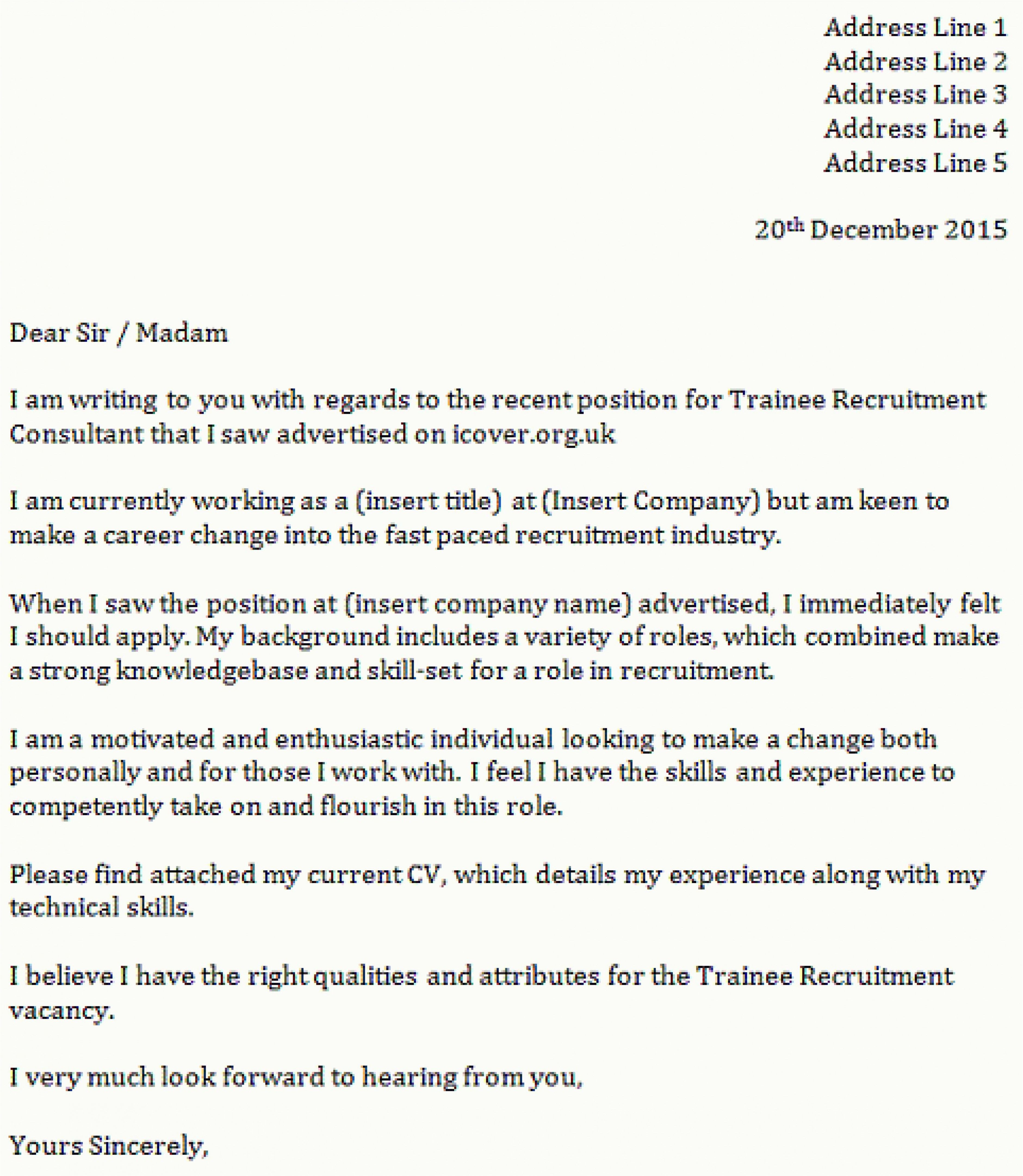 Simple Application Letter Sample For Any Vacant Position