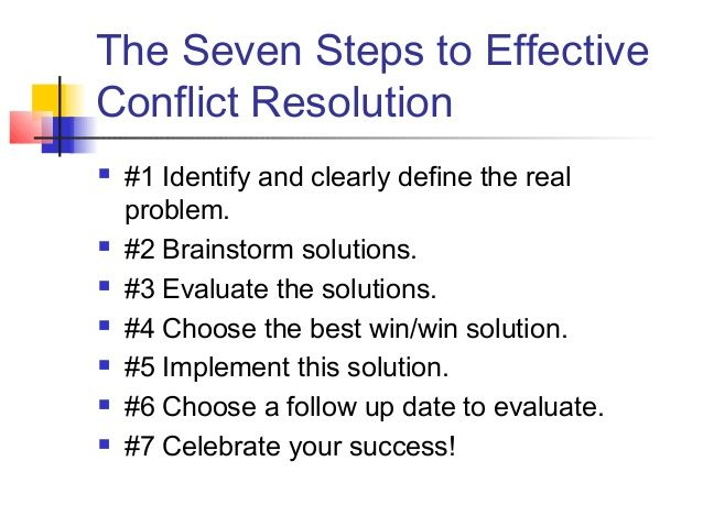 The Seven Steps To Effective Conflict Resolution   Identify
