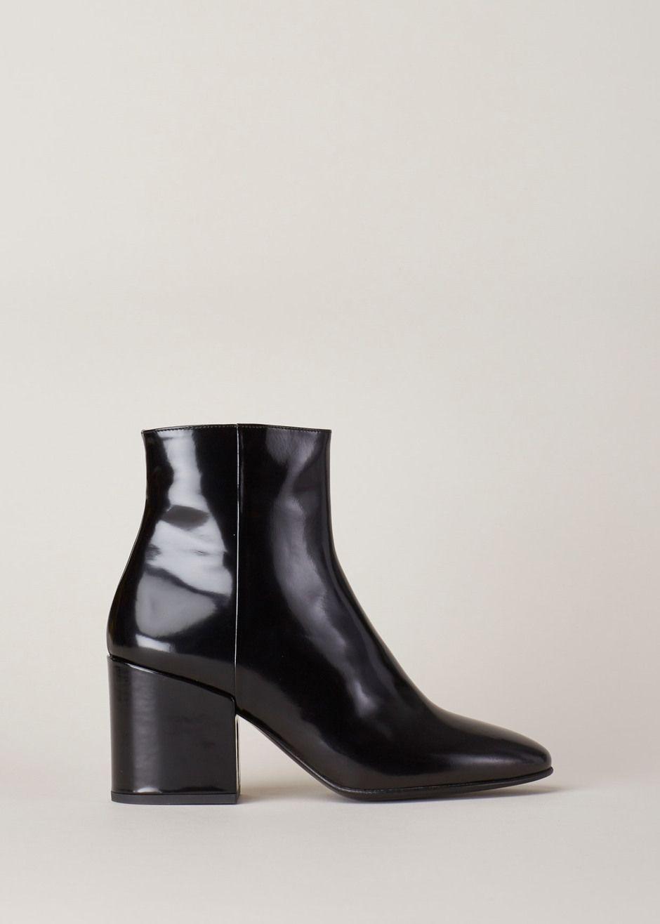 d5bf073b7a Dries Van Noten Chunky Heel Ankle Boot (Gloss Black)