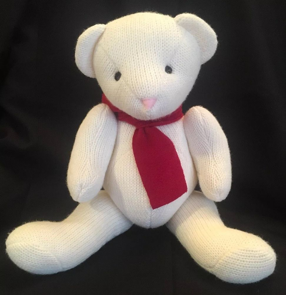 Pottery Barn Kids Knit Plush Teddy Bear Jointed White Red
