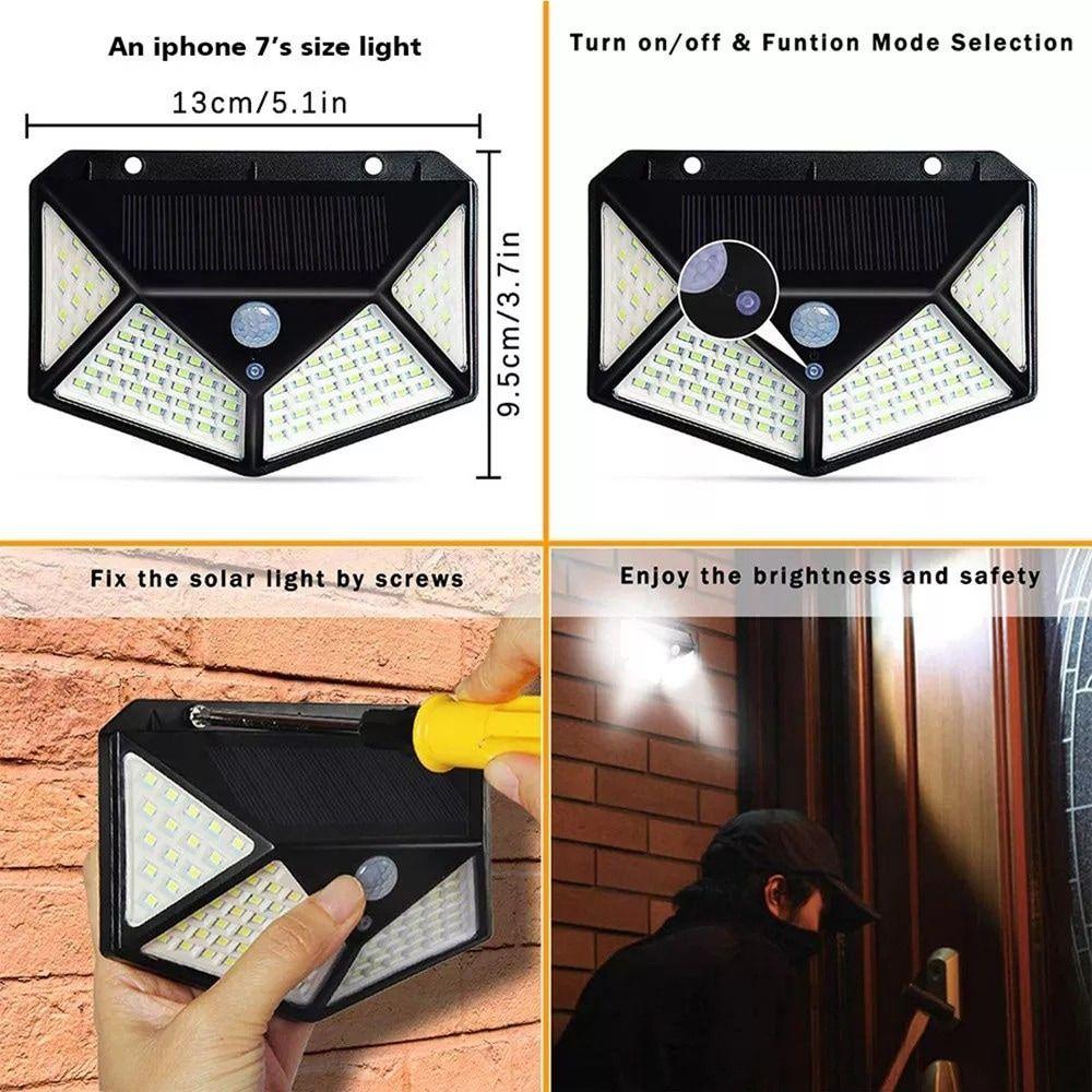 100 Led Solar Powered Garden Lamp Black In 2020 Solar Wall Lights Outdoor Solar Lamps Outdoor Wall Lighting