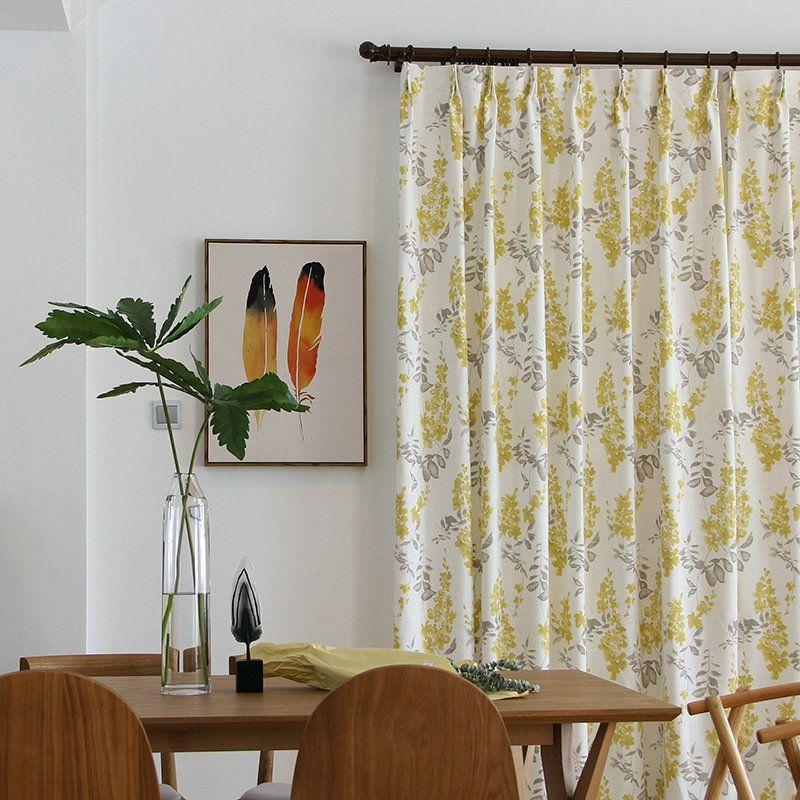 Minimalismus Vorhang Landhau Gelbe Blumen aus Leinen im ...